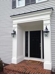 This portico that we added to the front of this Westfield, NJ home adds tons of curb appeal as well as functionality!