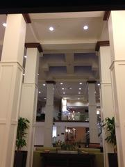 Reception area at the recently built hotel.