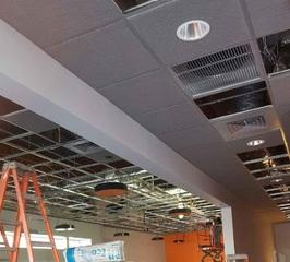 Electrical work in progress at the new fitness center.