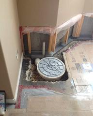A view of the new SuperSump® during the installation. Note the WaterGuard® along the wall tied into it.