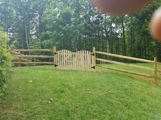 Homeowner needed a gate wide enough to get their ride-on mower through.
