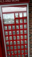 All lit up and ready for business is this Redbox kiosk.