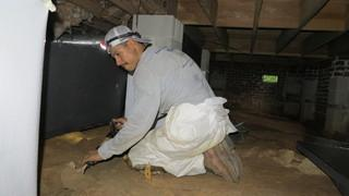 Israel makes way with preparation by leveling the ground in the crawl space.