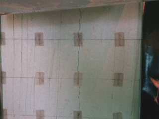 A view of the first crack that was found and repaired within the homes basement. A picture of the CarbonArmor® and Polyurethane Resin injection used to repair the crack are not available because the CleanSpace® vapor barrier was installed over top before a picture could be taken.