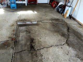 A view of the slab that is need of repair.