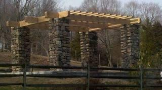 We installed a gorgeous stone pergola for this homeowner, a beautiful fixture for the landscape.