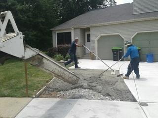 The concrete for this driveway was mixed right at the job site and poured straight out of the truck.