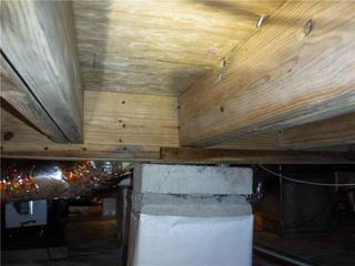 A few beams under Amy's home were beginning to fail, making the floor above slope.