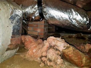 If the insulation has fallen down in a crawl space, that is a definite sign of moisture damage.