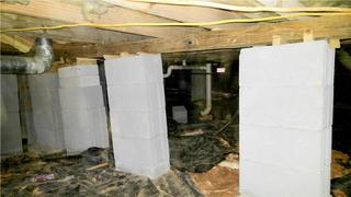 Unstable piers caused Homeowner Steven's kitchen floor to sag and create an unsafe environment for his family.