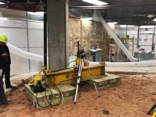 Micropile Performance Test at St. Anthony's Cancer Center in Oklahoma City, The hospital purchased a medical instrument of tremendous weight, so we installed a foundation system to support the weight/load of the instrument.