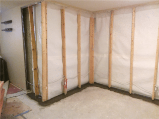 A view of the CleanSpace® and WaterGuard® working in tandem to protect this basement.