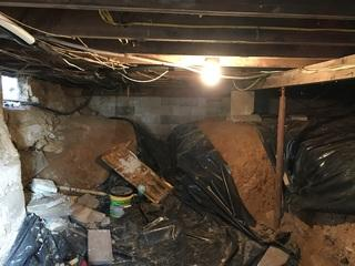 This project was a concern because of insects (cave crickets), water, humidity, mold, cold and unsightliness.