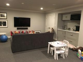 Perfect family room in the basement. Get your work out in while the kids are playing or watching a movie all without leaving the house.