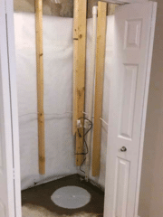 New Super Sump and White CleanSpace Vapor Barrier in Basement Closet