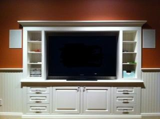 entertainment system flat screen in custom built in