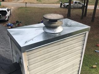 This is a newly installed galvinized chimney cap. This will definitely stop the leaking issue this homeowner had.