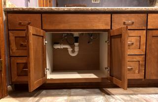 Plumbing for a new sink was installed.