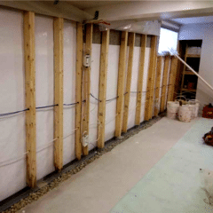 Here is a view of the WaterGuard® and CleanSpace® being installed to protect this home from any excess water.