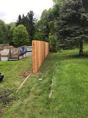 6' Cedar Privacy fence down the side of yard