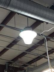 Picture of the old lighting before our technicians replaced the fixtures with more energy efficient LED high bay fixtures.