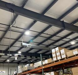 Pictured are the new LED high bay fixtures after our technicians upgraded the lighting.
