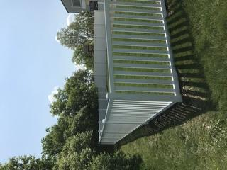"""our installers did a great job on this 48"""" white vinyl Biscayne yard fence and 6' Acadia privacy fence!"""