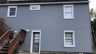 The customer used two types of siding.  CertainTeed Monogram on the back and sides.