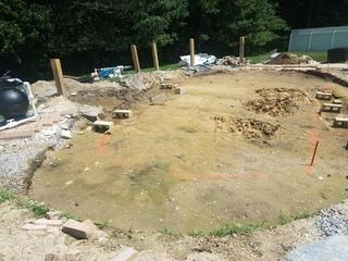 The old pool has been taken down and removed from the site