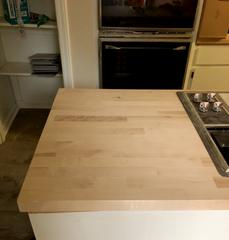 In the kitchen where the laminate counter tops were installed.