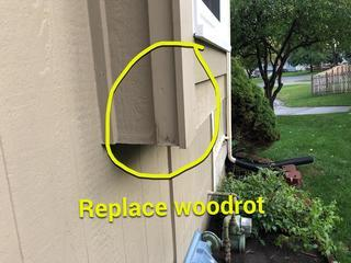 Arrow Renovation evaluated all the wood rot on the house and used LP Smart siding to replace wood rot.