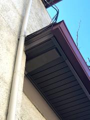 Close-up photo of the new soffit.