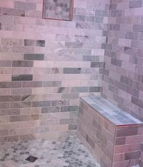 Shower bench that was installed.