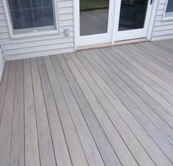 This photo features a close up view of Timbertech Ashwood decking that was completed in Ballwin, Missouri.