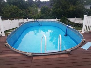 Top ledges removed and pool prepared for liner change!
