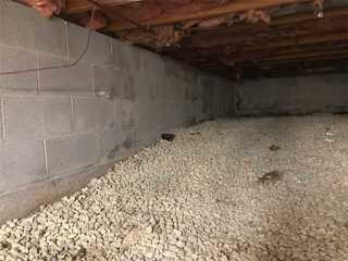 A before shot of the crawlspace