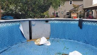This pool liner was compromised, and sand was seeping through the bottom of the pool. Time for YES to step in.