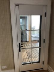 Motorized shades for door.