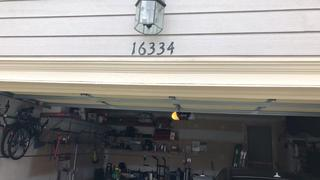 The upper part of the garage where trim was replaced.