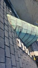 Copper roof before replacement. Was showing clear signs of deterioration.