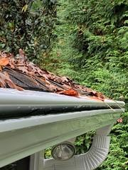 The Gutter Shutter System keeps leaves and debris but allows water in by displacing the surface tension preventing clogs and overflowing gutters.