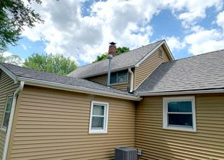 Back view of the new shingles installed.