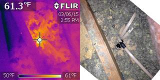 The picture on the right is another wire penetration. You can see that the hole is much larger than the actual wire. The picture on the right is the infrared and shows that area around the hole at roughly 63 degrees on a 10 degree day.