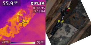 This is a top plate in the attic. Drywall is visible, with no insulation over the top of it. It may not look like much, but with an infrared camera we can clearly see that the surface temperature is over 55 degrees on a 10 degree day.
