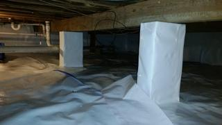 Here you can see how we wrapped the pillars to seal the unconditioned space from the rest of the home.