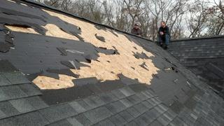 This is a typical example of what we saw when arriving to a home, post-Hurricane Sandy. This Fairfield home has experienced roof damage from Hurrican Sandy, as shingles were physically removed.