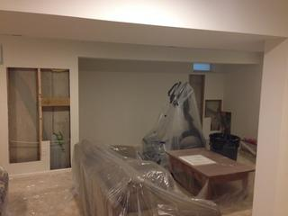 Here you can see the prep work we went through to keep the area clean while we worked.