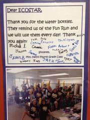 Ecostar 4th grade water bottles for fun run.