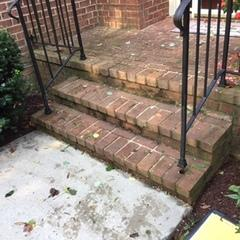 Pictured here are the steps with their deteriorating foundation.