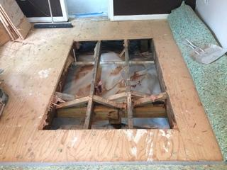This is the entrance for the crawl space. We are able to perform the work in a space that was only 20 inches high.